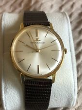 Jaeger LeCoultre Solid 18k Gold Windup Wristwatch Vintage 35mm EXC Runs NR!