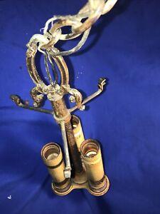 Vintage Art Nouveau 3 Light Ceiling Fixture Candle Chandelier Cast Bronzed Metal