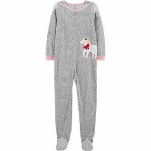 Carters Fleece Footed pajama Blanket Sleeper Size 6 Unicorn Polka Dot Gray Holly