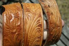 VINTAGE DISTRESSED TOOLED LEATHER WESTERN BELT 32