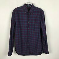 J. Crew Shirt Size S Purple Green Plaid Button Front Long Sleeve Mens Cotton