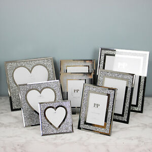 Crushed Diamond Mirrored Picture Frames Silver Heart Shaped Photo Frame Display