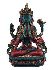 Chenrezig -Tchenrezi statue tibetaine-resine peinte-turquoise- 20 cm -Tibet-9639