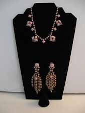 Swingin' 60s Pink & Rhinestones Set of Necklace and Long Clipon Earrings Fringe
