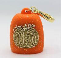 Bath & Body Works Glitter Orange Pumpkin Keychain Pocketbac Holder NWT