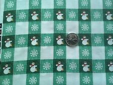 Christmas Holidays 100% cotton Fabric Green and White Squares