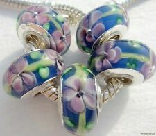 5PCS Silver Single Core Murano Lamp Glass Beads fit European Charm Bracelet A068