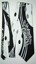 Black And White Abstract Tie - Necktie With Dots, Lines, And Broach Design