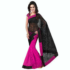 Indian Party Wear Designer Black & Blue Half & Half Net Brasso Sari With Blouse