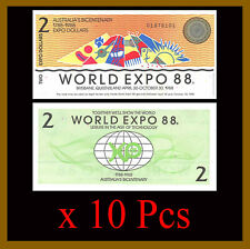 Australia 2 Dollars World Expo x 10 Pcs Lot, 1988 Bicentenary (1788-1988) Unc