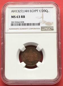 EGYPT - OTTOMAN , 1/20 PIASTRE SULTAN  MOHAMED V 1327/4 AH NGC MS 63 RB , SCARCE