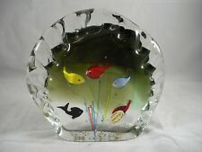 Beautiful Vintage Murano 5 Fish Aquarium Art Glass Paperweight Sculpture