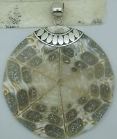 Handcrafted Shell Pendant  Round in 925 Silver (New) [ 6.5 cm diameter]
