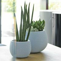 Blue Small Lovely Flower Pot Planter Basket-Home Office-Woven Knitted Effect