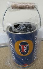 Foster's Beer Large Metal Coozie With Wood Handle Oil Can Koozie Brand New Rare!