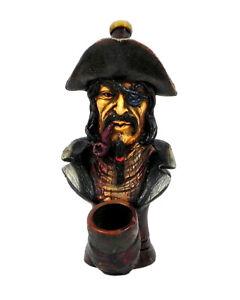 Black Beard Pirate Captain Handmade Tobacco Smoking Hand Pipe Hat Eye Patch Art