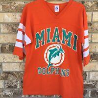Logo 7 Miami Dolphins Jersey Mens Shirt Large NFL Football Made USA Orange VTG