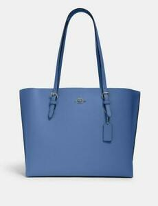 NWT Coach Mollie Pebble Leather Tote 1671 Stone Blue