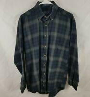 Pendleton Men's Sz M Wool Button Front Long Sleeve Shirt Plaid Blue Gray