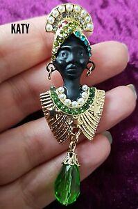 Queen Sheba Vintage Art Nouveau Deco Style BROOCH Blackamoor Gold Pin Broach