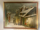 Maurice Utrillo V - Paris Snow Scene - Signed Framed Art Lithograph Hardboard