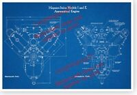 WWI Hispano Suiza Aircraft Engine End Views 13x19 Blueprint Poster