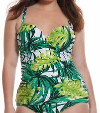 Green Palm V Wire~42DD~Lane Bryant Plus Size FLORAL Tankini Top Underwire NEW!