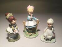 Vintage Set (3) Lefton & Napcoware Porcelain Girl Figurines--ADORABLE