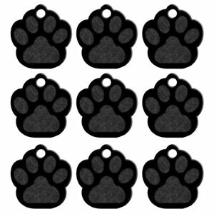 20pcs Black Bling Paw Shape Personalized Pet Dog Tags Disc ID Name Engraved Tag