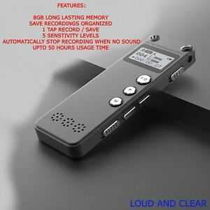 Metal Design Digital Dictaphone Voice Recorder 1536kbps High Quality 8gb MP3 UK
