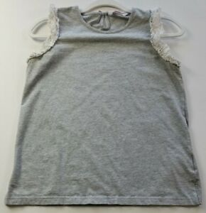 Just Jeans Girl's Tank 16 Gray White Lace Trim Crewneck Casual Cotton Elastane