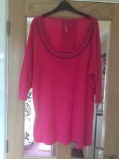 Taglia 26/28 Long T-shirt rosa con maniche a 3/4