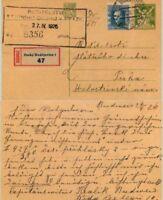 Czechoslovakia 🇨🇿 1926 postcard used Budejovice . d6993