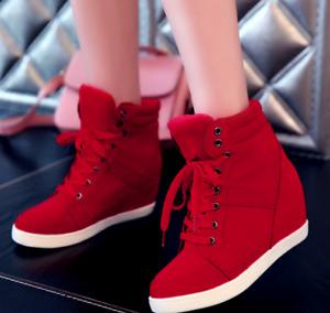 Women's Winter Ankle Boots High Top Booties Lace Up Hidden Wedge Heel Shoes