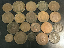 20 1800s Foreign Copper Coins Italy Portugal Luxembourg France Greece Bulgaria