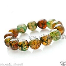 Natural 8Mm Peacock Dragon Veins Agate Gemstone Beads Stretchy Bracelet 7.5''