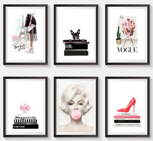 Set of 6 Fashion Vogue Designer Wall Art Bedroom Print Home Posters Deco Gift S3