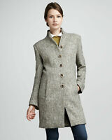 Theyskens' Theory Large Coat Menka Long Tweed Jacket Button Front Silk Lined