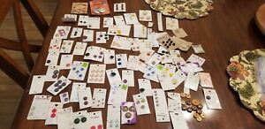 Lot Of Vintage Mixed Buttons. Most Carded Old Stock