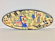 Vintage Toler Laguna Beach Ceramic Oval Plate Jazz Music Hand Painted Art Cali