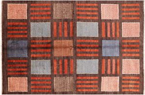 """5' 4"""" X 8' Gabbeh Hand-Knotted Wool Rug - H5790"""