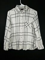 Eddie Bauer Womens White Black Plaid Button Front Long Sleeve Blouse Size Large