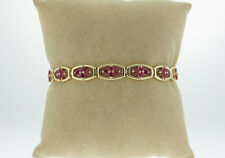 Natural Red Rubies (4.16tcw!) Solid 14K Yellow Gold Tennis Bracelet 6.5inches