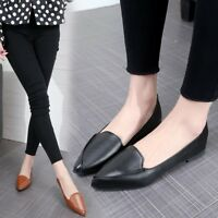 Women Fashion Flat Casual Loafers Pointed Toe Slip On Comfy Leather Shoes Pumps