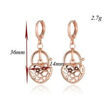 Women's Heart Dangle Earrings 18K Rose Gold Filled Fashion Jewelry