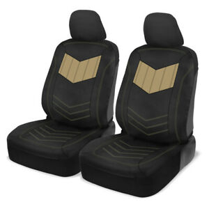 Car Seat Covers Motor Trend Beige/Black PU Leather Sideless Front Set Truck SUV