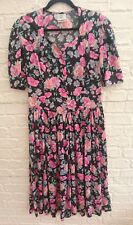 Vintage Laura Ashley Pink Floral Prairie Tea Dress Size UK 12 14 Great Britain
