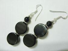 14 mm schwarze Achat Coin Button Ohrringe Earrings mit 925 Silber Ohrhaken