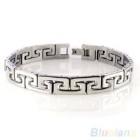 Fashion Men's Punk Stainless Steel Chain Wristband Clasp Cuff Bangle Bracelet