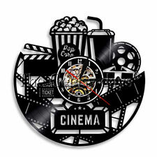 Cinema Vinyl Record Clock Film Ticket Popcorn Coke Wall Clock Movie Lover Gift